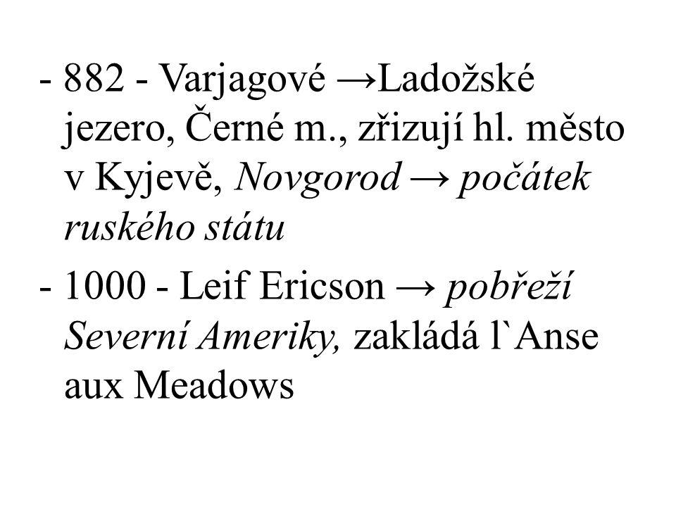 - 882 - Varjagové →Ladožské jezero, Černé m. , zřizují hl