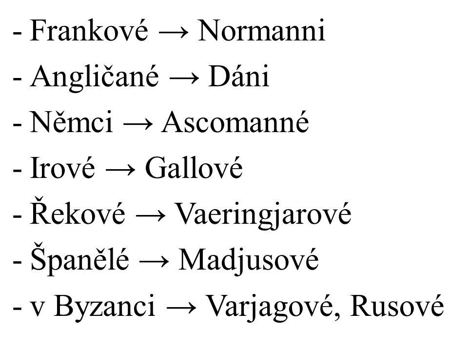 Frankové → Normanni Angličané → Dáni. Němci → Ascomanné. Irové → Gallové. Řekové → Vaeringjarové.