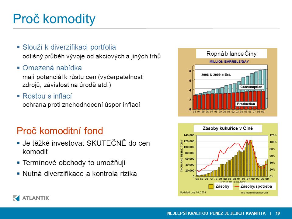 Proč komodity Proč komoditní fond Slouží k diverzifikaci portfolia
