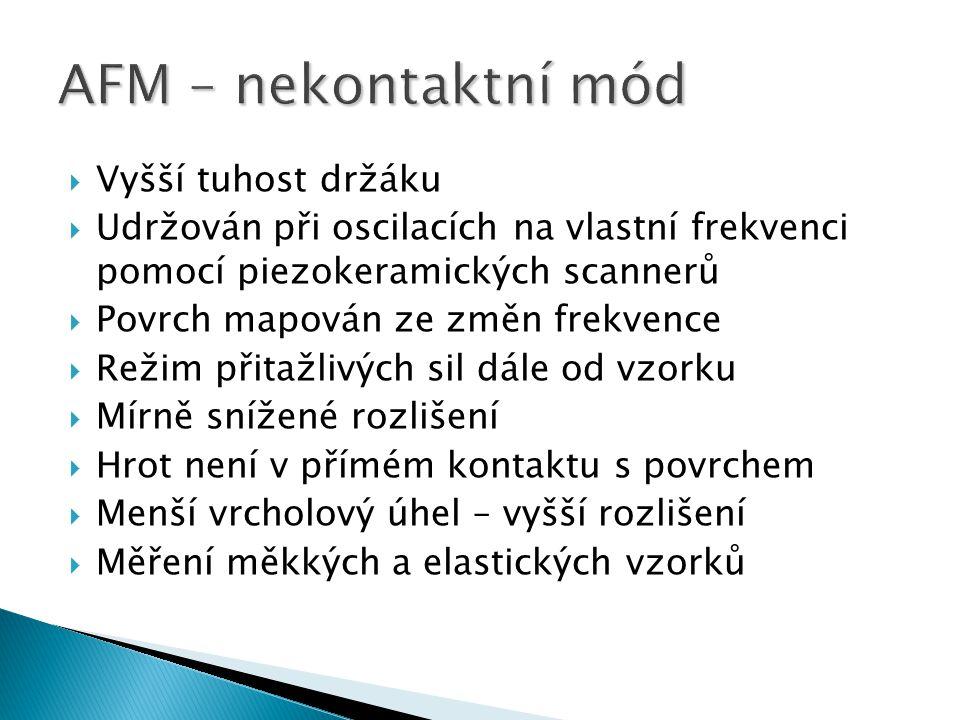 AFM – nekontaktní mód Vyšší tuhost držáku
