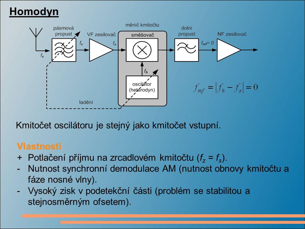 Homodyn Kmitočet oscilátoru je stejný jako kmitočet vstupní.