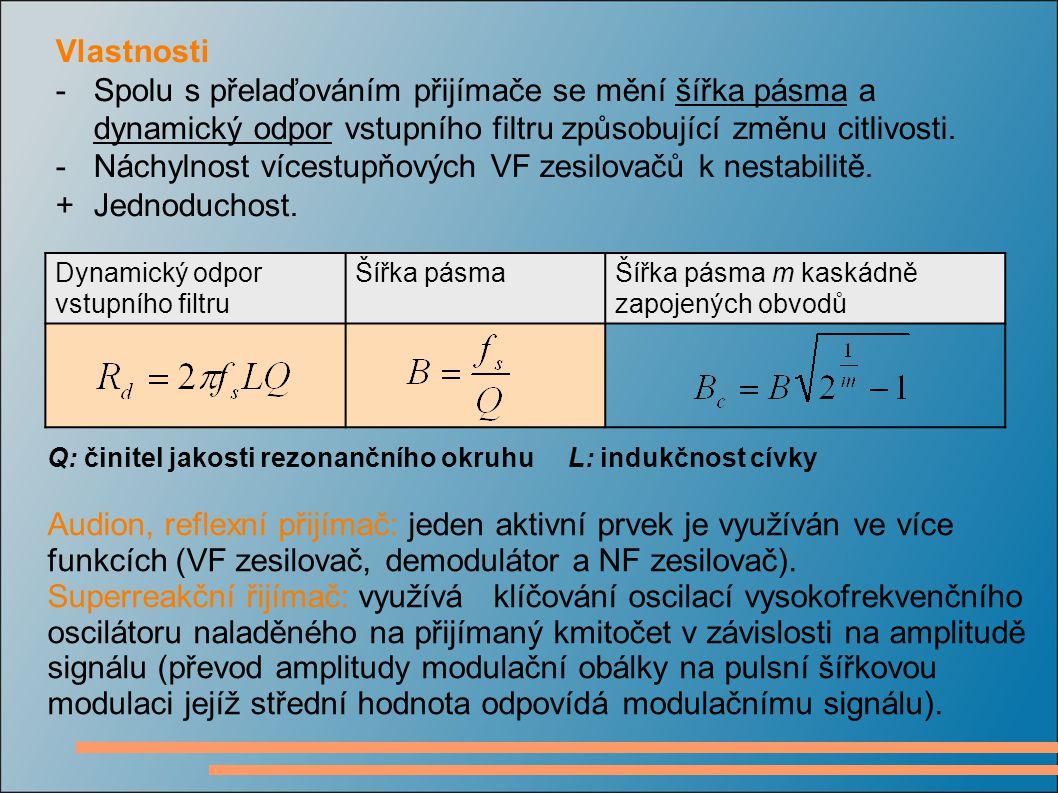- Náchylnost vícestupňových VF zesilovačů k nestabilitě.