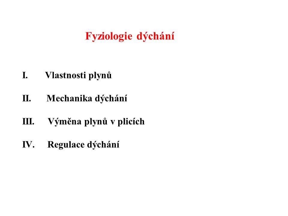 Fyziologie dýchání I. Vlastnosti plynů II. Mechanika dýchání III