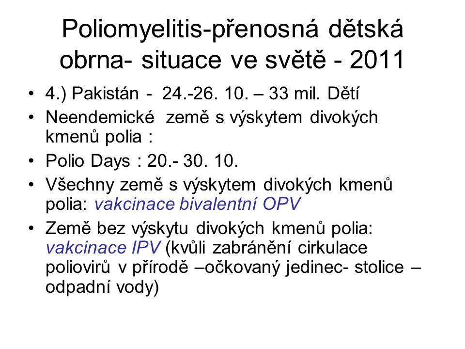 Poliomyelitis-přenosná dětská obrna- situace ve světě - 2011
