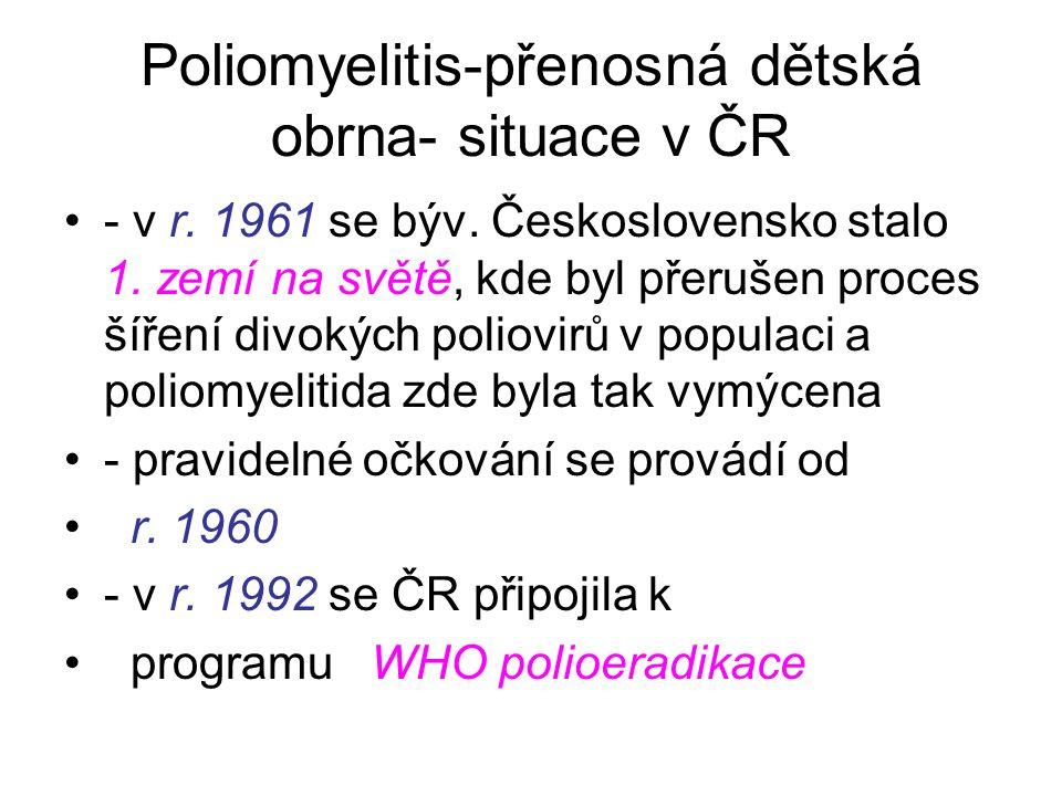 Poliomyelitis-přenosná dětská obrna- situace v ČR