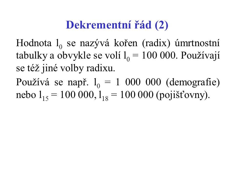 Dekrementní řád (2) Hodnota l0 se nazývá kořen (radix) úmrtnostní tabulky a obvykle se volí l0 = 100 000. Používají se též jiné volby radixu.