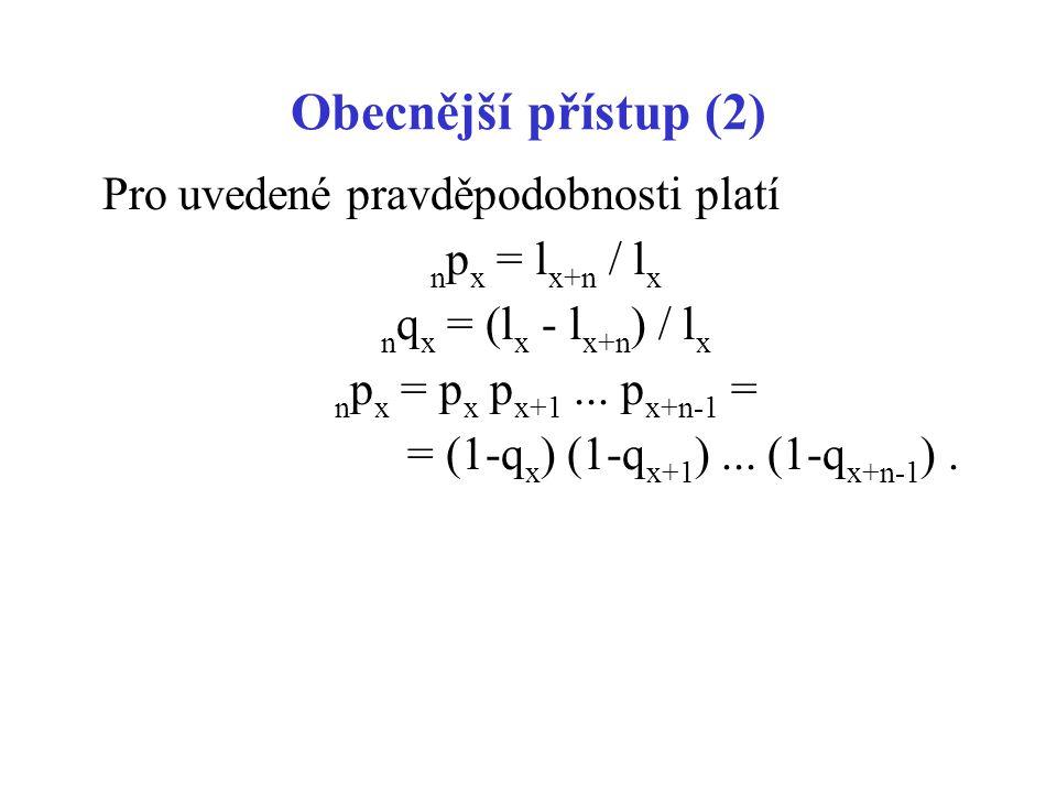 Obecnější přístup (2) Pro uvedené pravděpodobnosti platí