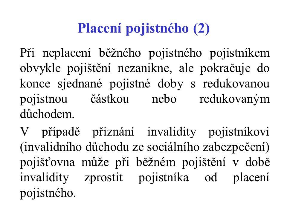 Placení pojistného (2)