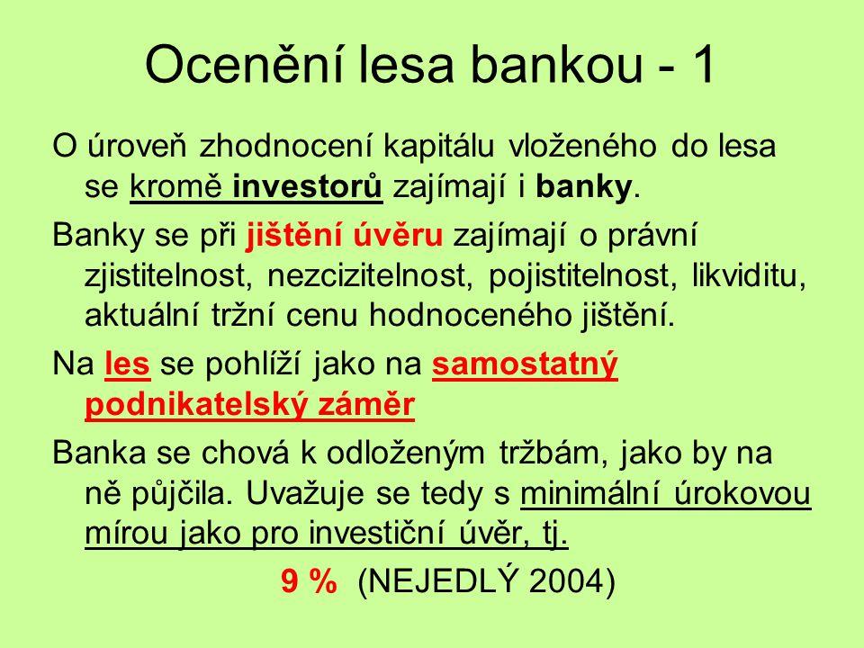 Ocenění lesa bankou - 1 O úroveň zhodnocení kapitálu vloženého do lesa se kromě investorů zajímají i banky.