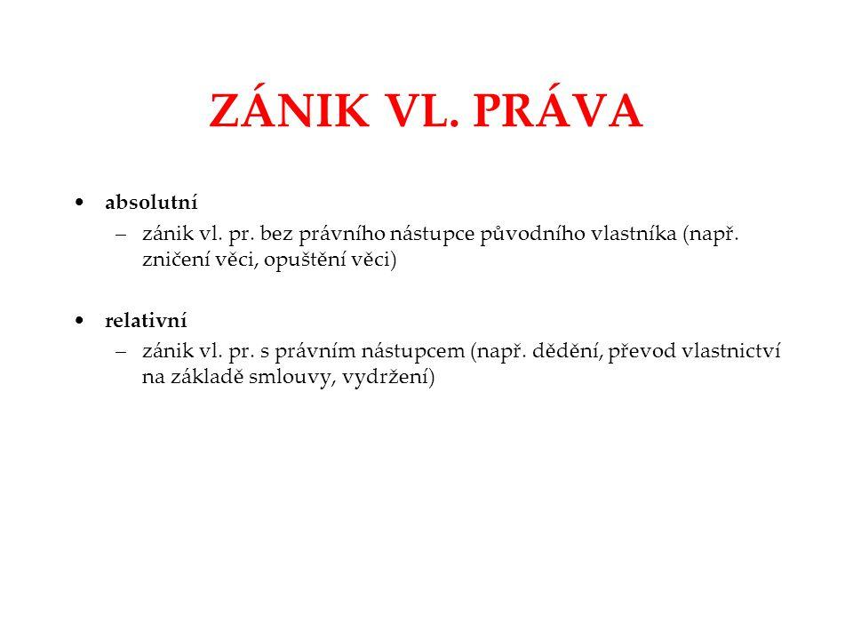 ZÁNIK VL. PRÁVA absolutní