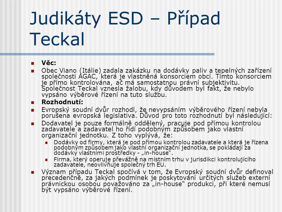 Judikáty ESD – Případ Teckal