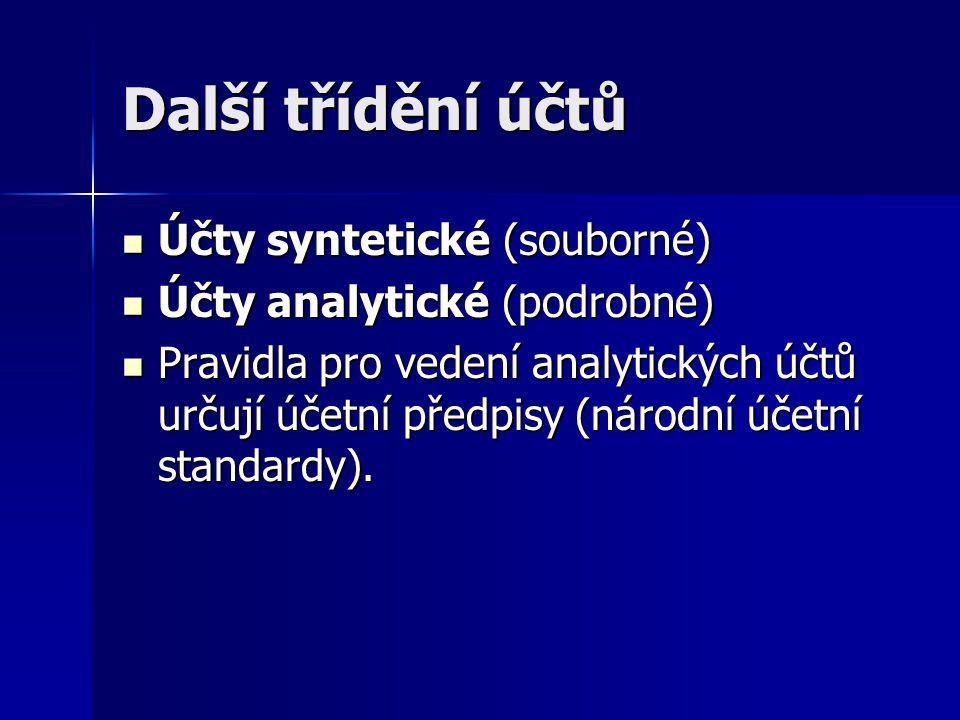 Další třídění účtů Účty syntetické (souborné)