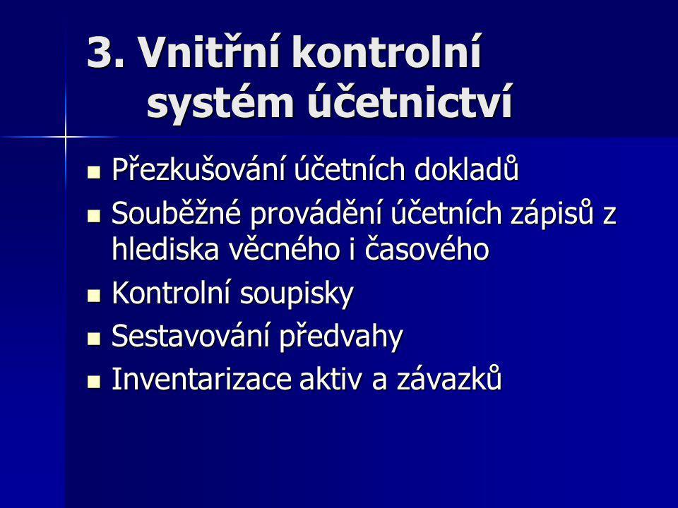 3. Vnitřní kontrolní systém účetnictví