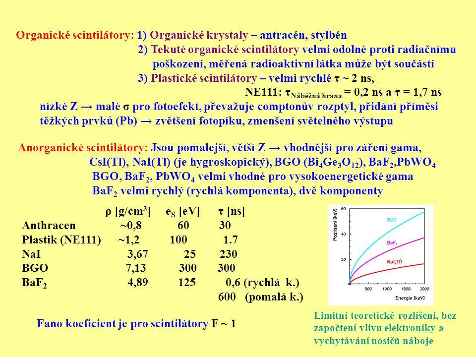 Organické scintilátory: 1) Organické krystaly – antracén, stylbén