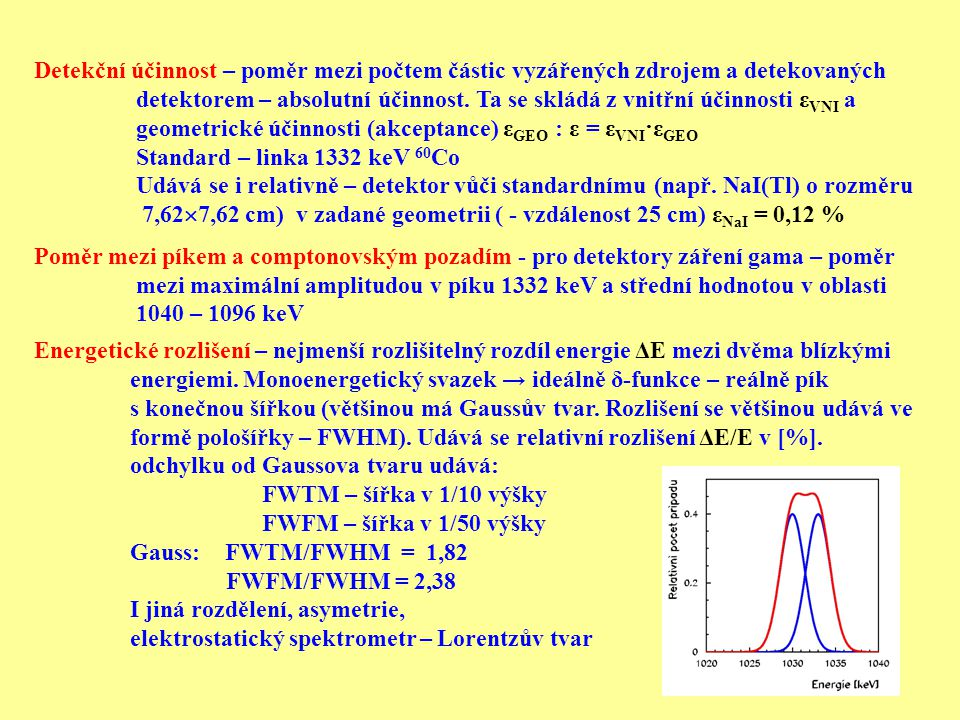 Detekční účinnost – poměr mezi počtem částic vyzářených zdrojem a detekovaných