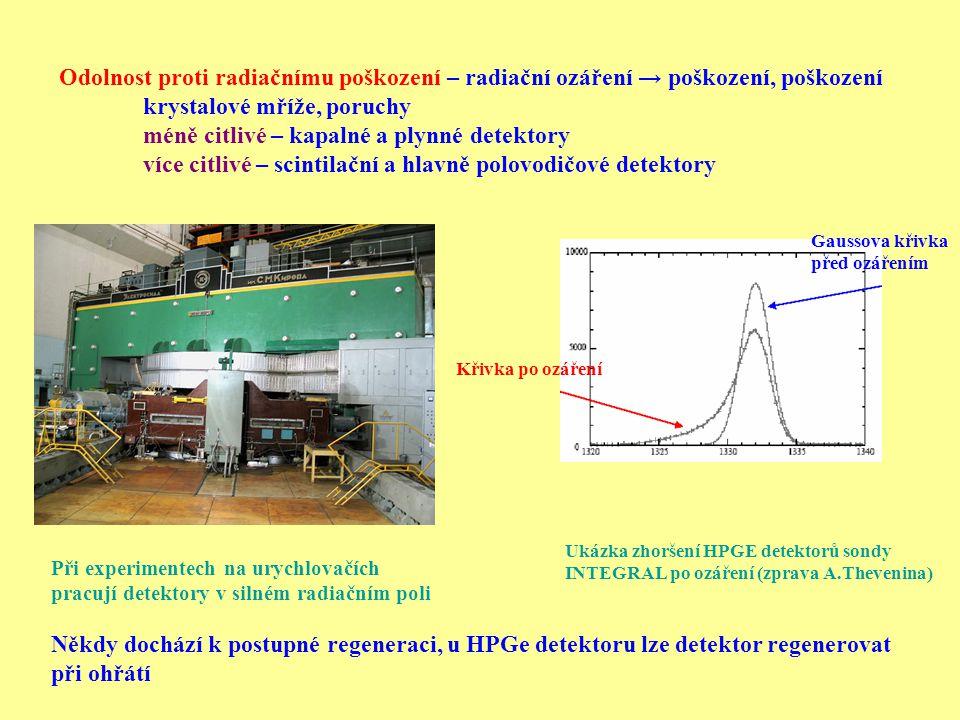krystalové mříže, poruchy méně citlivé – kapalné a plynné detektory