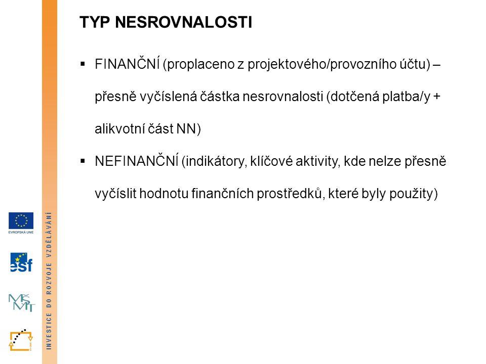 TYP NESROVNALOSTI finanční (proplaceno z projektového/provozního účtu) – přesně vyčíslená částka nesrovnalosti (dotčená platba/y + alikvotní část NN)