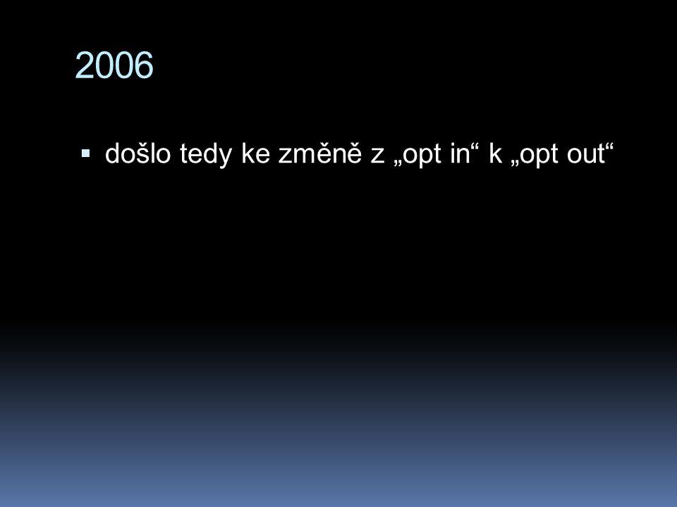 """2006 došlo tedy ke změně z """"opt in k """"opt out"""