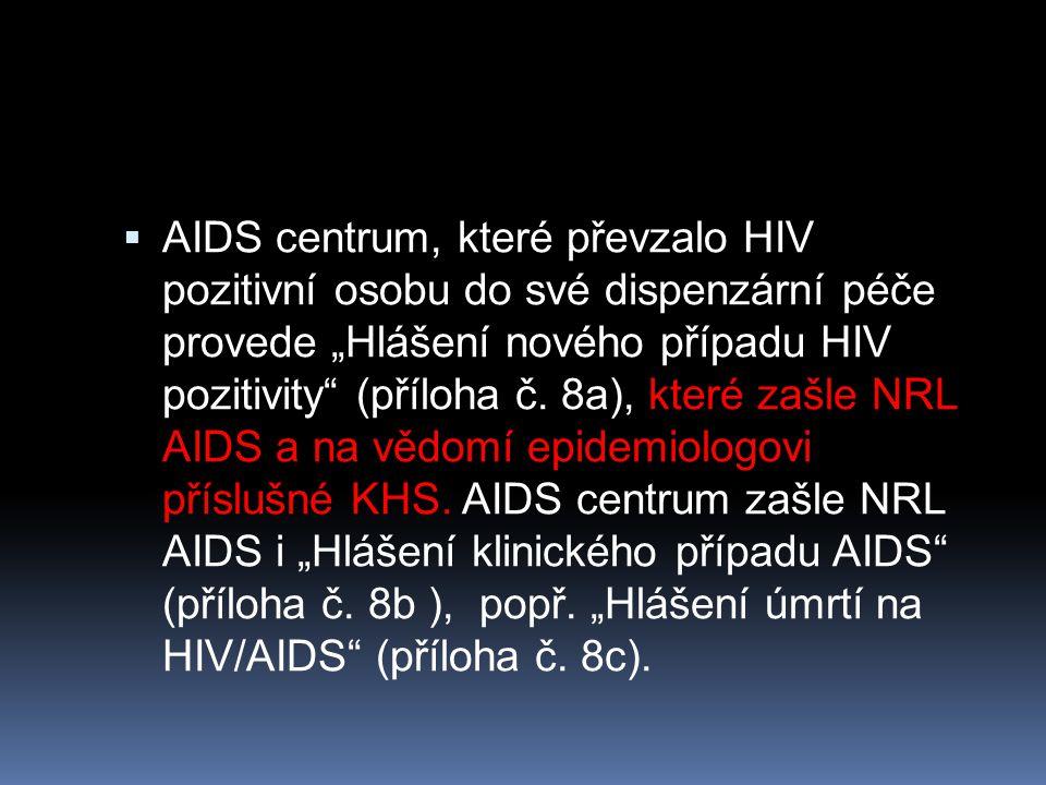 """AIDS centrum, které převzalo HIV pozitivní osobu do své dispenzární péče provede """"Hlášení nového případu HIV pozitivity (příloha č."""