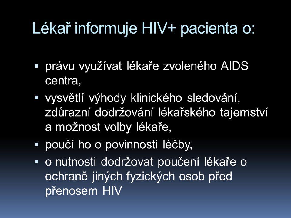 Lékař informuje HIV+ pacienta o: