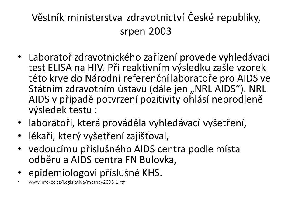 Věstník ministerstva zdravotnictví České republiky, srpen 2003