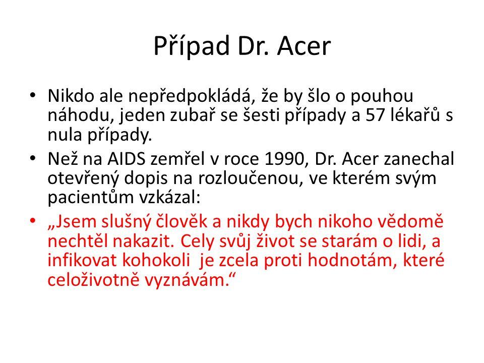 Případ Dr. Acer Nikdo ale nepředpokládá, že by šlo o pouhou náhodu, jeden zubař se šesti případy a 57 lékařů s nula případy.