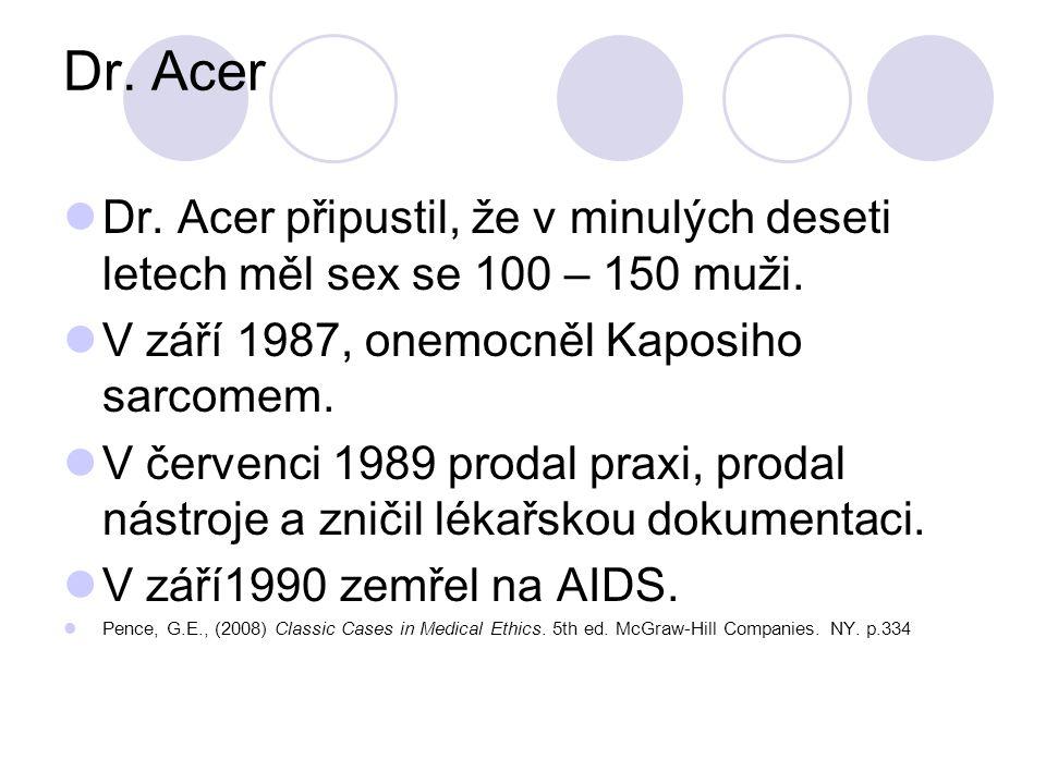 Dr. Acer Dr. Acer připustil, že v minulých deseti letech měl sex se 100 – 150 muži. V září 1987, onemocněl Kaposiho sarcomem.