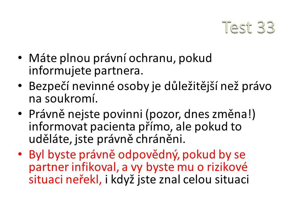 Test 33 Máte plnou právní ochranu, pokud informujete partnera.