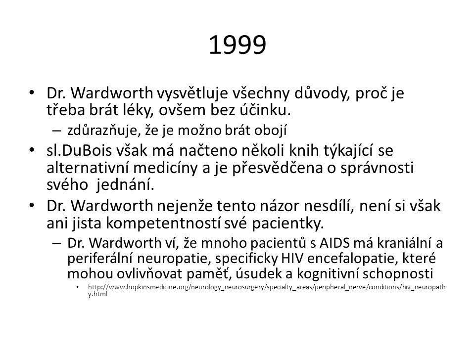 1999 Dr. Wardworth vysvětluje všechny důvody, proč je třeba brát léky, ovšem bez účinku. zdůrazňuje, že je možno brát obojí.