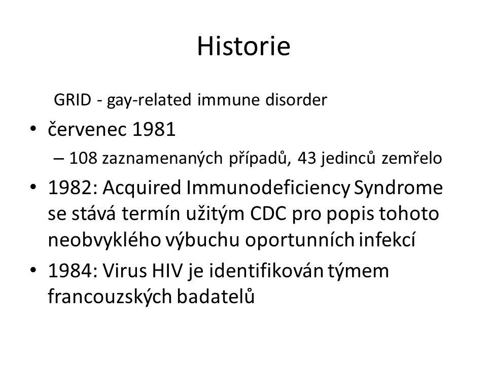 Historie GRID - gay-related immune disorder. červenec 1981. 108 zaznamenaných případů, 43 jedinců zemřelo.
