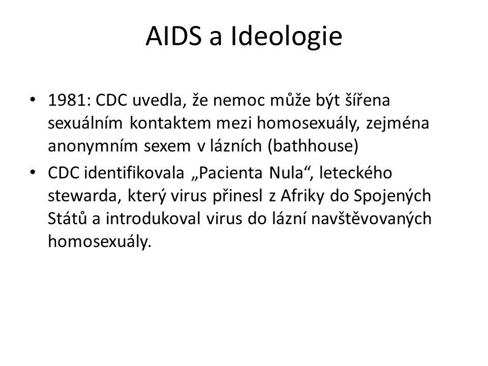 AIDS a Ideologie 1981: CDC uvedla, že nemoc může být šířena sexuálním kontaktem mezi homosexuály, zejména anonymním sexem v lázních (bathhouse)
