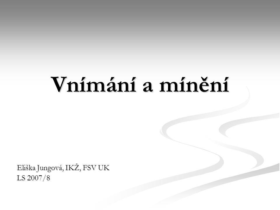 Vnímání a mínění Eliška Jungová, IKŽ, FSV UK LS 2007/8