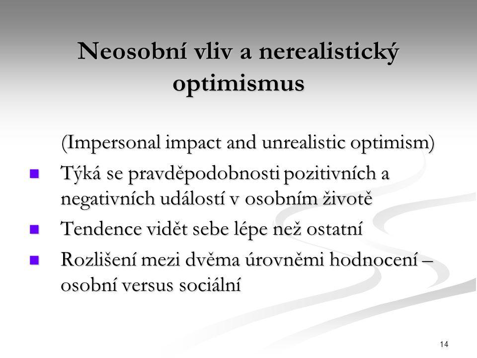 Neosobní vliv a nerealistický optimismus
