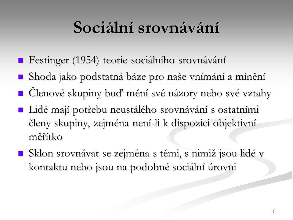 Sociální srovnávání Festinger (1954) teorie sociálního srovnávání
