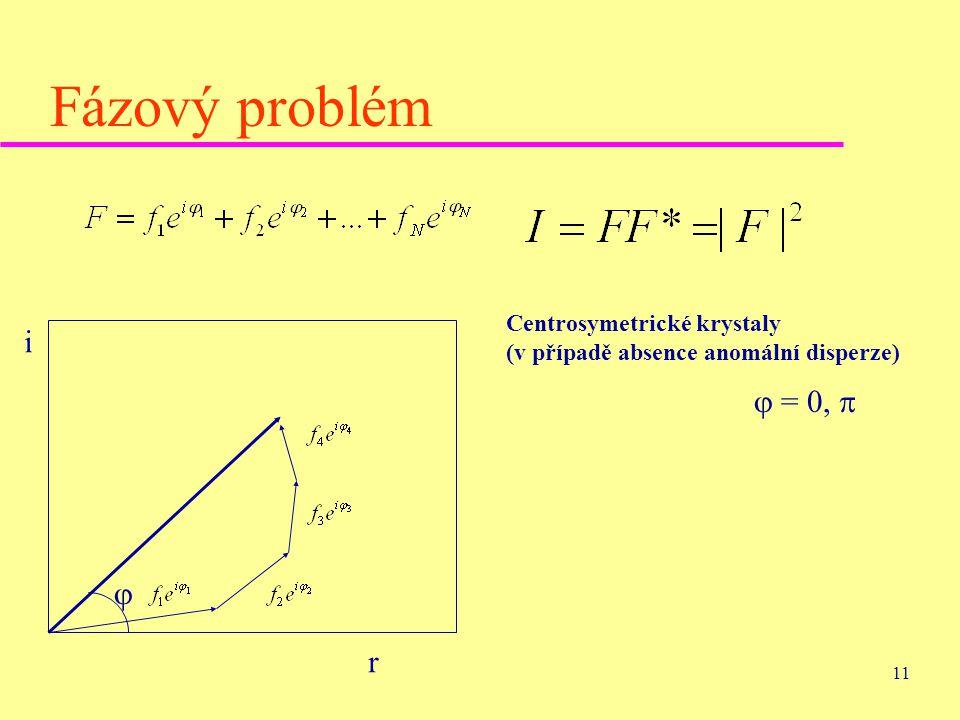 Fázový problém Centrosymetrické krystaly (v případě absence anomální disperze) i  = 0,   r
