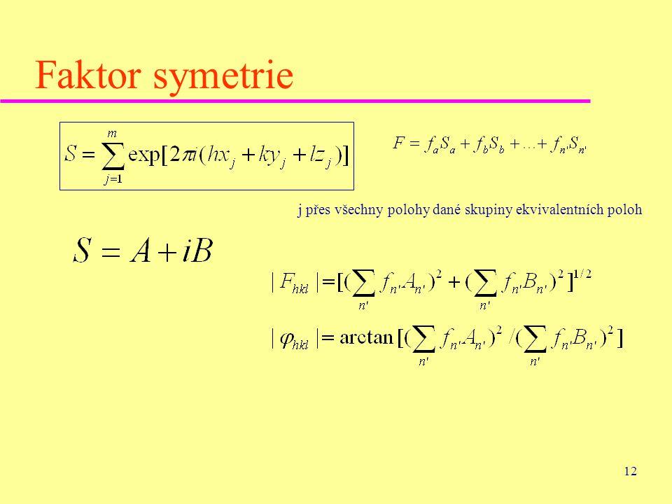 Faktor symetrie j přes všechny polohy dané skupiny ekvivalentních poloh
