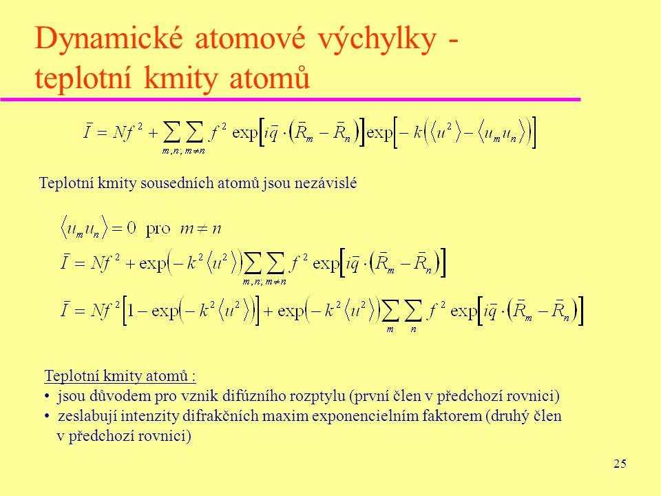 Dynamické atomové výchylky - teplotní kmity atomů