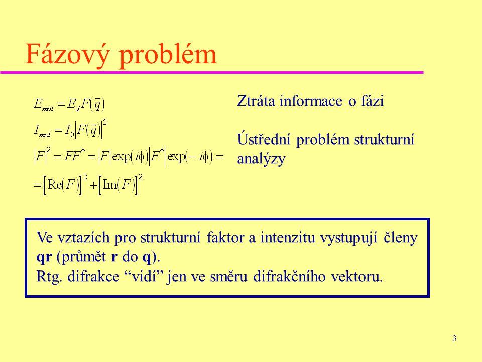 Fázový problém Ztráta informace o fázi Ústřední problém strukturní