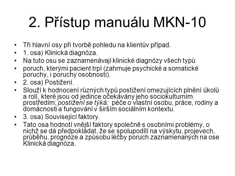 2. Přístup manuálu MKN-10 Tři hlavní osy při tvorbě pohledu na klientův případ. 1. osa) Klinická diagnóza.