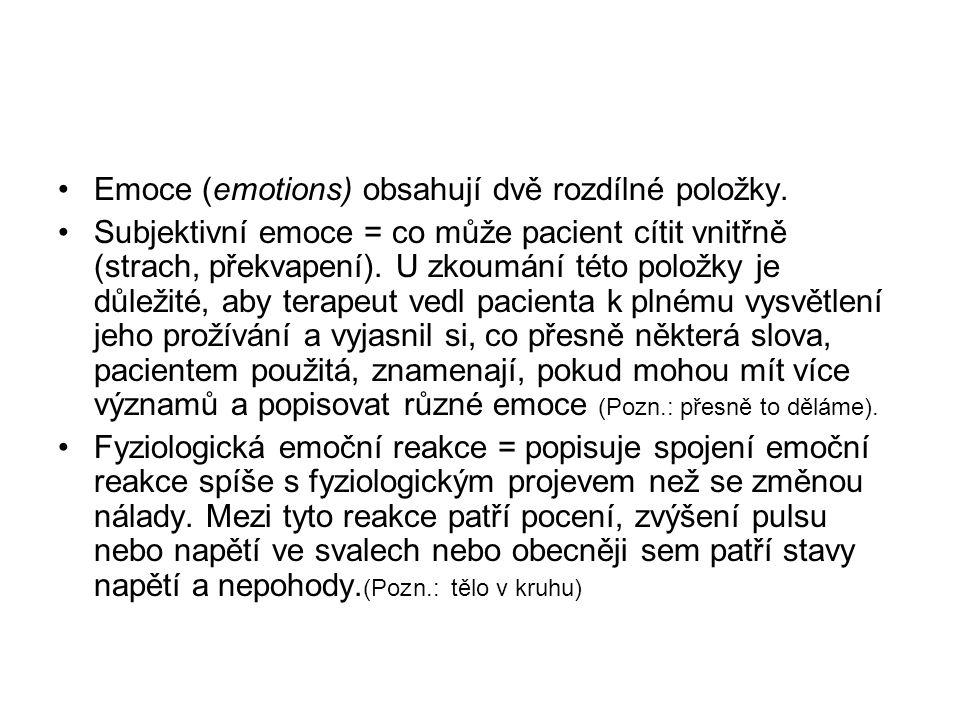 Emoce (emotions) obsahují dvě rozdílné položky.