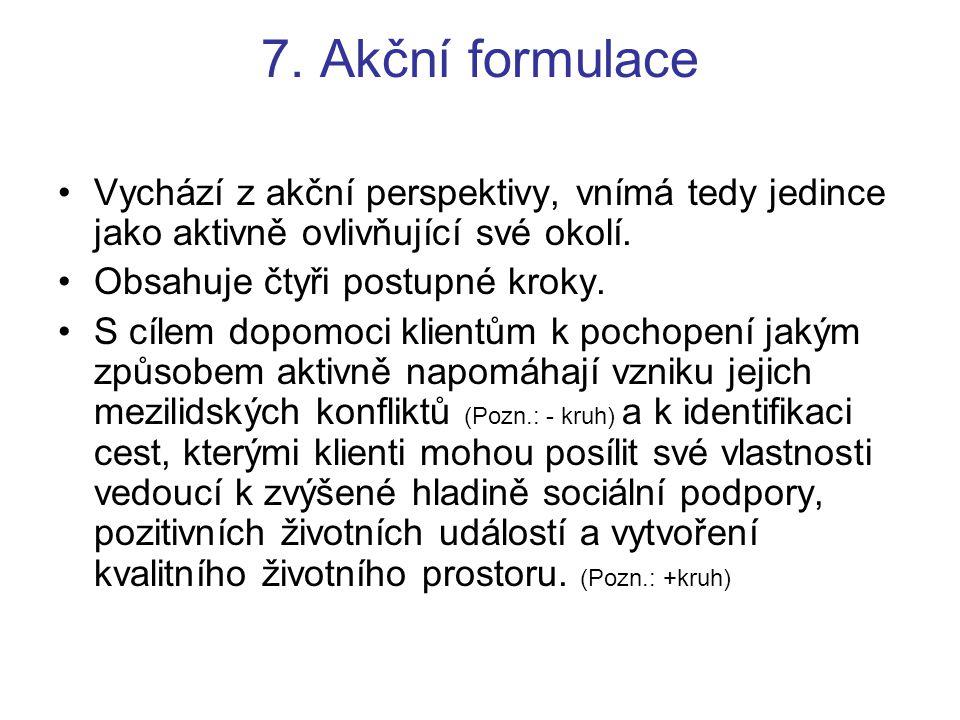 7. Akční formulace Vychází z akční perspektivy, vnímá tedy jedince jako aktivně ovlivňující své okolí.