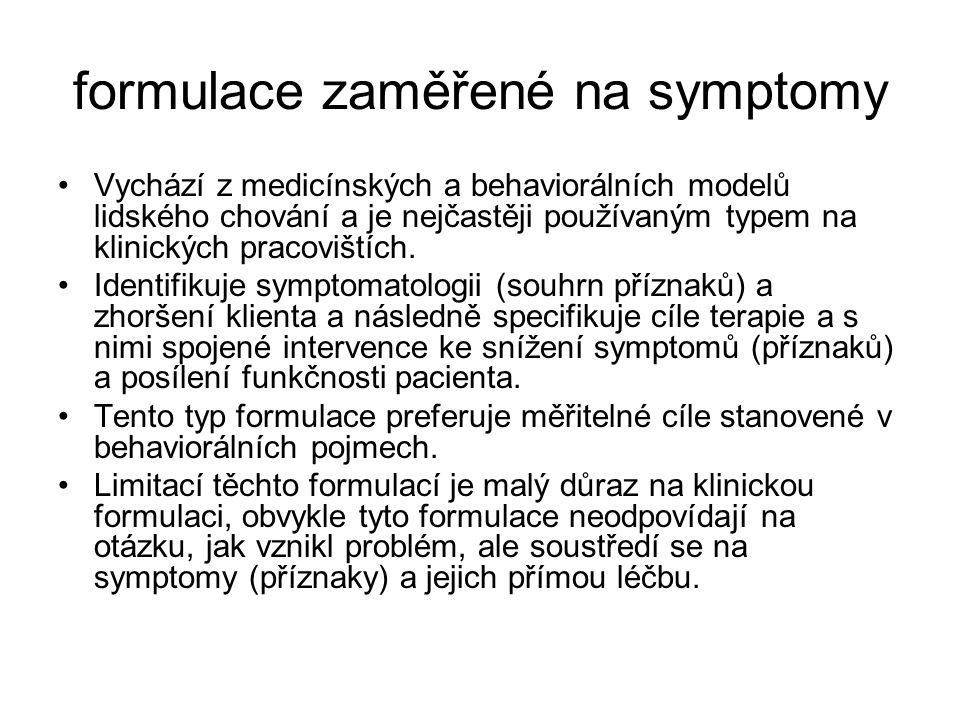 formulace zaměřené na symptomy