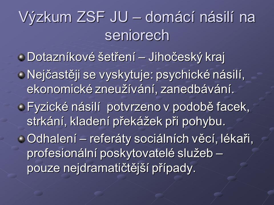 Výzkum ZSF JU – domácí násilí na seniorech