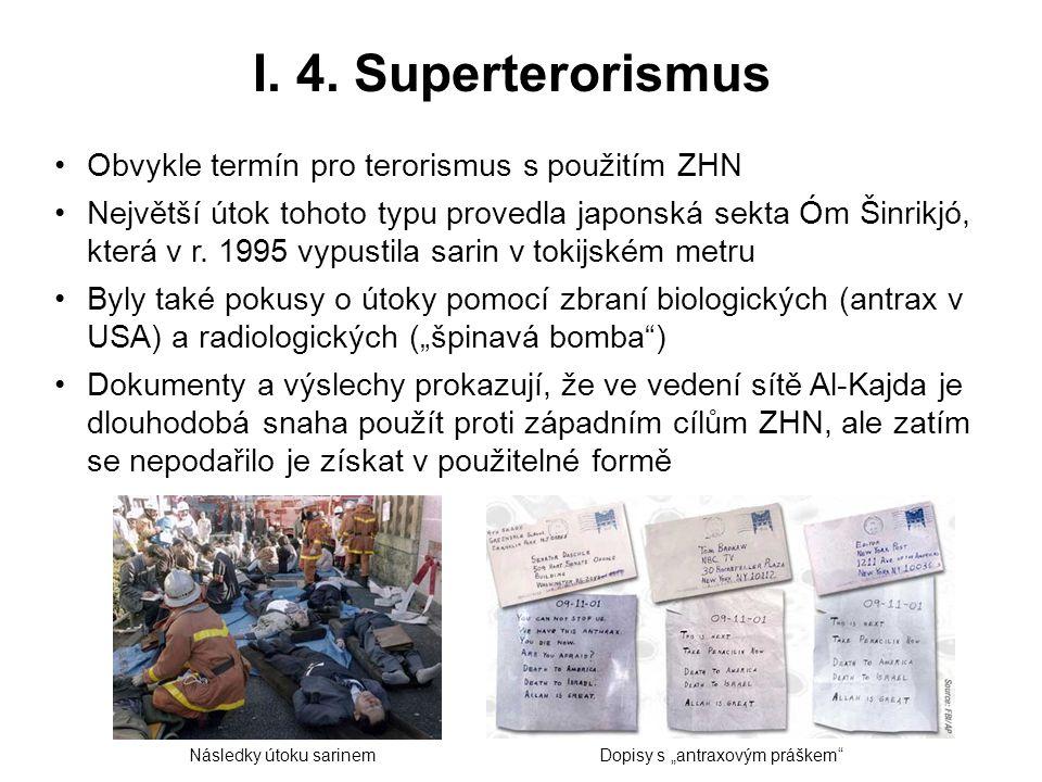 I. 4. Superterorismus Obvykle termín pro terorismus s použitím ZHN