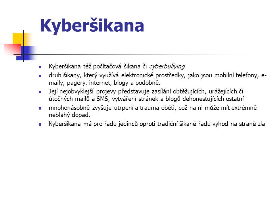 Kyberšikana Kyberšikana též počítačová šikana či cyberbullying