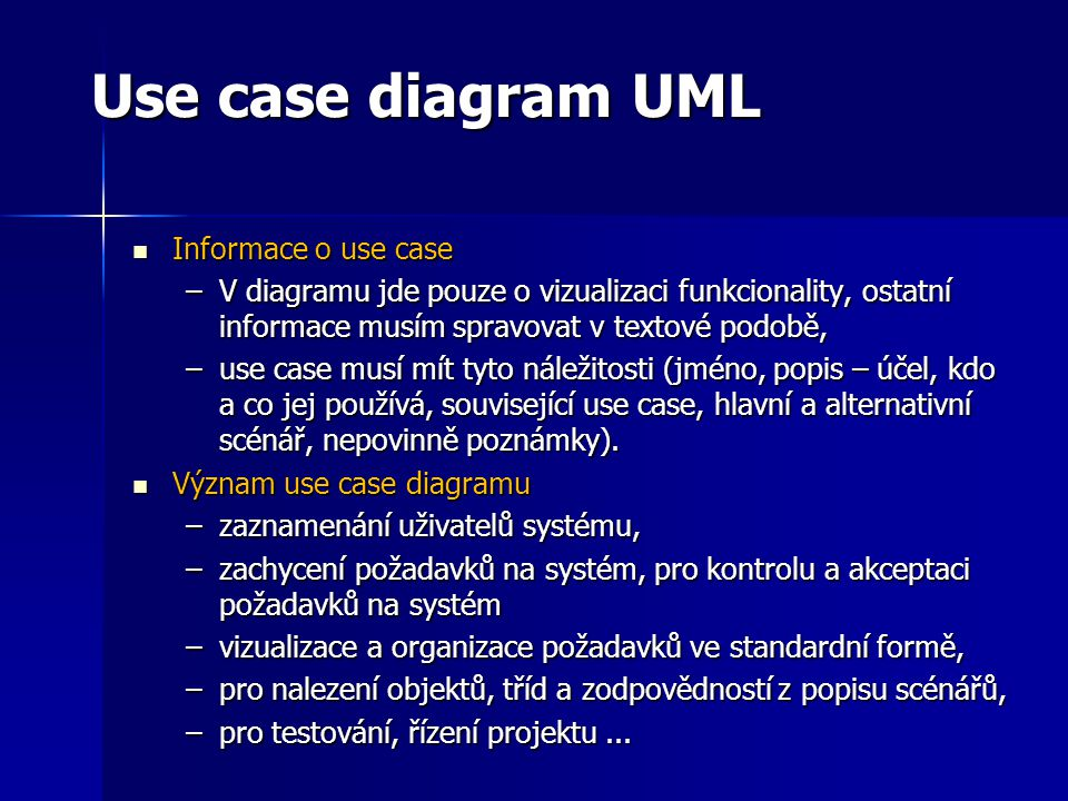 Use case diagram UML Informace o use case