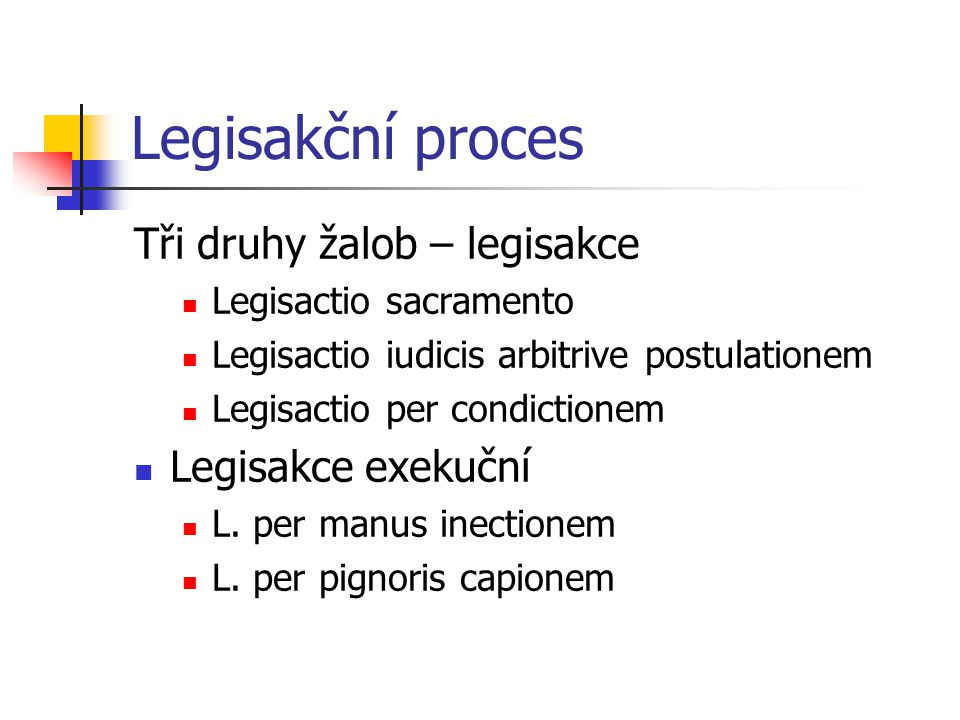 Legisakční proces Tři druhy žalob – legisakce Legisakce exekuční
