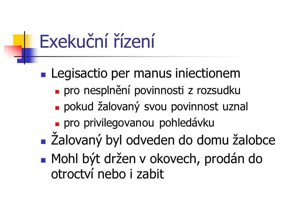Exekuční řízení Legisactio per manus iniectionem