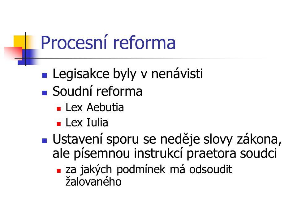 Procesní reforma Legisakce byly v nenávisti Soudní reforma