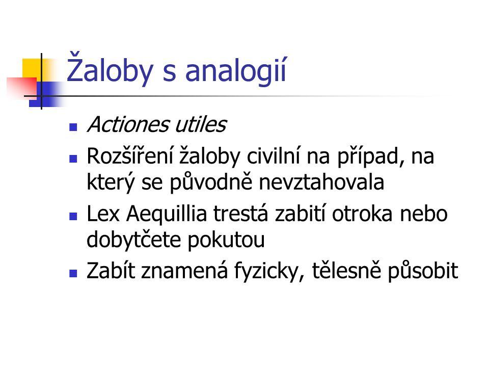 Žaloby s analogií Actiones utiles